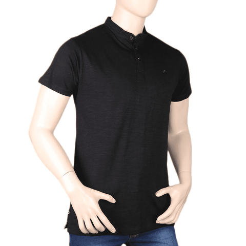 Men's Eminent Band Collar T-Shirt - Black