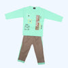 Boys Full Sleeves 2 Piece Suit - Cyan