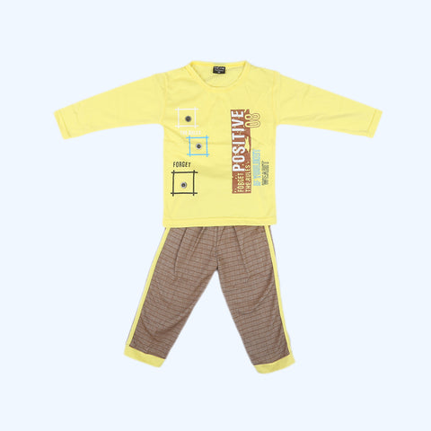 Boys Full Sleeves 2 Piece Suit - Yellow