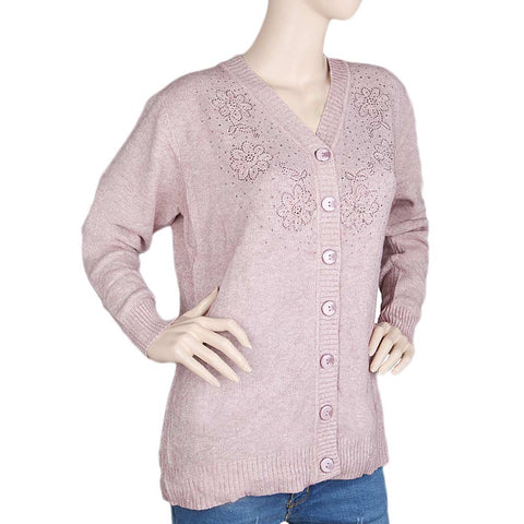 Eminent Full Sleeves Sweater For Women - Tea Pink