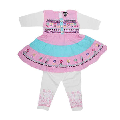Girls Fancy Frock 2 Pcs - Pink