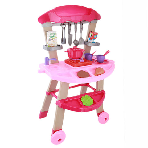 Kitchen Trolly Set For Kids - Pink