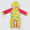 Newborn Unisex Full Sleeves Fleece Hooded Romper - Yellow