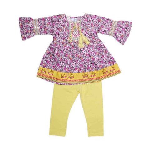 Girls Fancy Embroidery Suit 2 Pcs - Purple
