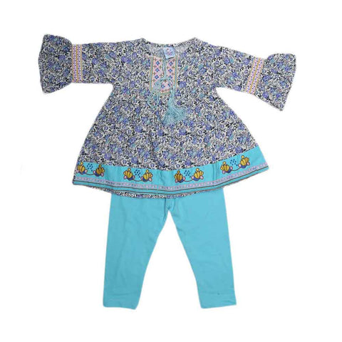 Girls Fancy Embroidery Suit 2 Pcs - Blue