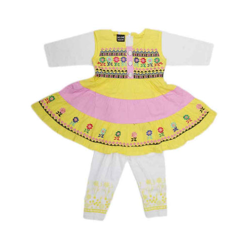 Girls Fancy Frock 2 Pcs - Yellow