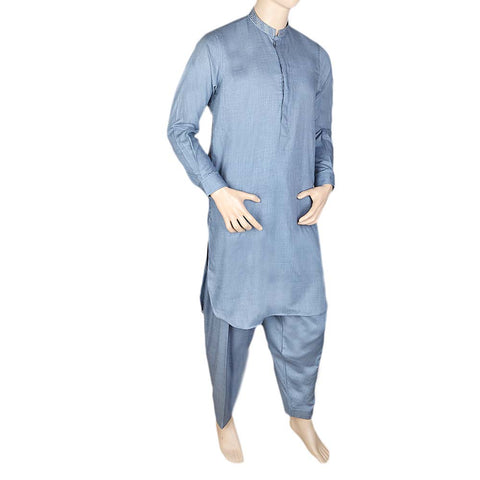 Men's Kameez Shalwar -Embroidered-Steel Blue