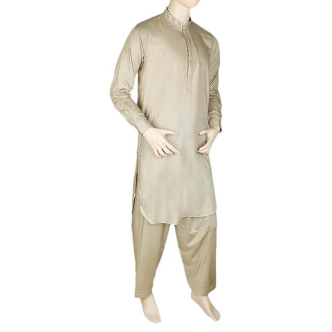 Men's Kameez Shalwar -Embroidered- Khaki