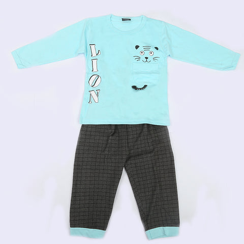 Boys Full Sleeves 2 Piece Suit - Light Blue