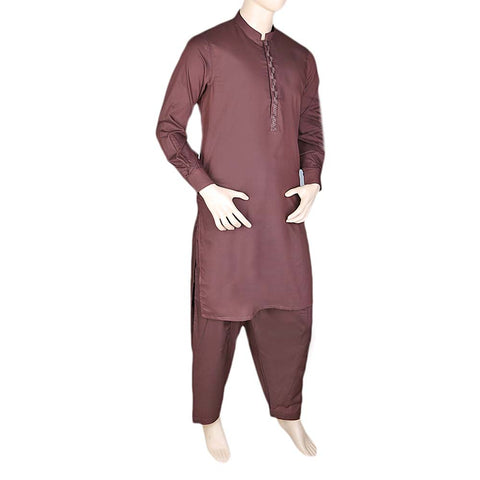 Men's Band Collar Embroidered Shalwar Kameez - Dark Brown