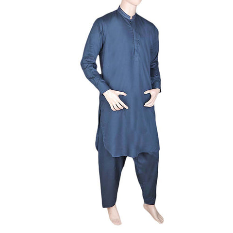 Eminent Band Collar Embroidered Shalwar Kameez For Men - Navy Blue