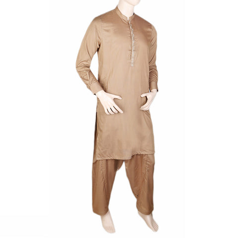 Men's Band Collar Embroidered Shalwar Kameez - Khaki