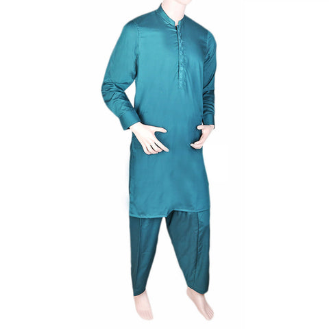 Men's Band Collar Embroidered Shalwar Kameez - Steel Green