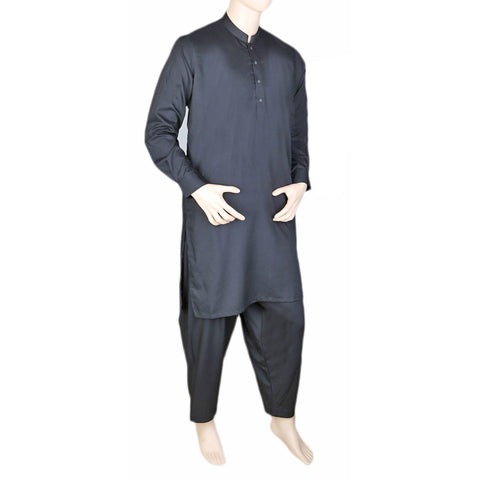 Eminent Band Collar Plain Shalwar Kameez For Men - Black