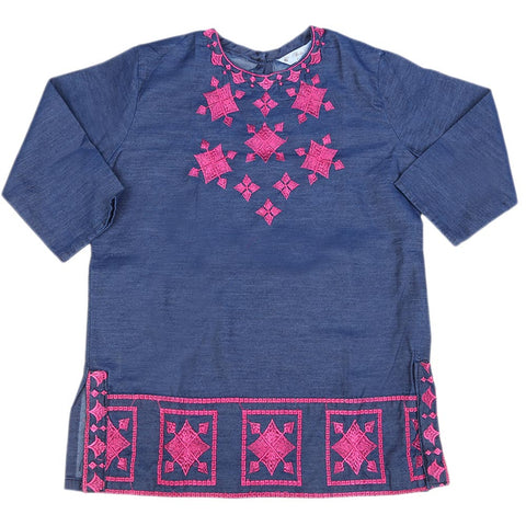 Girls Embroidered Denim Kurti - Blue
