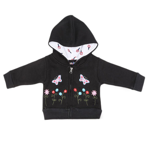 Newborn Girls Full Sleeves Hooded Upper - Black