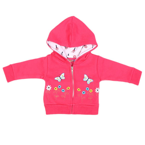 Newborn Girls Full Sleeves Hooded Upper - Pink