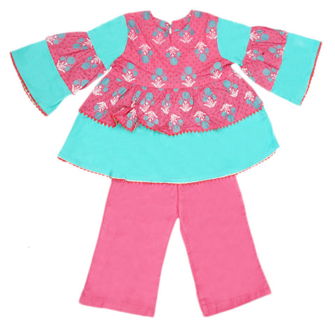 Girls Printed  Cotton Suit 3 Pcs - Pink