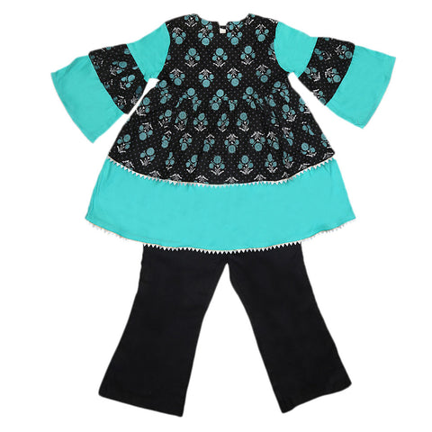 Girls Printed  Cotton Suit 3 Pcs - Black