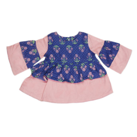 Girls Printed  Cotton Suit 3 Pcs - Royal Blue