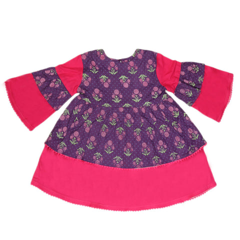 Girls Printed  Cotton Suit 3 Pcs - Purple