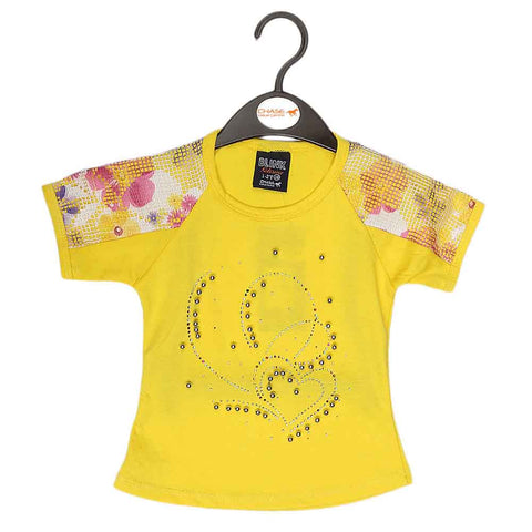 Girls Half Sleeve Fancy T-Shirt - Yellow