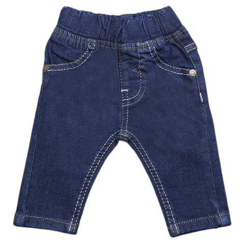 Newborn Girls Denim Pant - Dark Blue