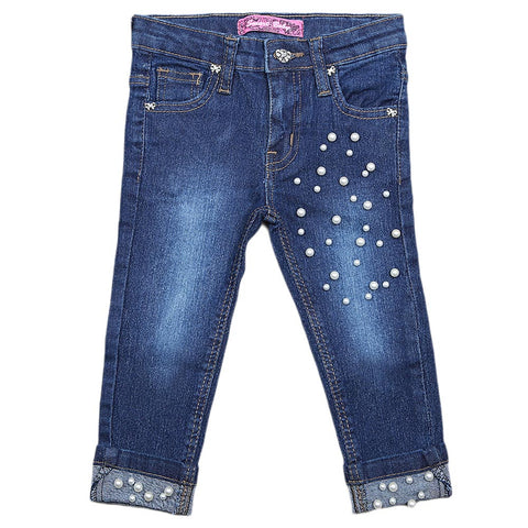 Girls Denim Pant - Dark Blue
