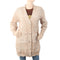 Women's Open Front Knee Length Sweater - Beige