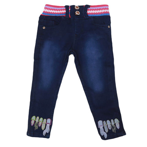 Girls Stretchable Denim Pant - Dark Blue