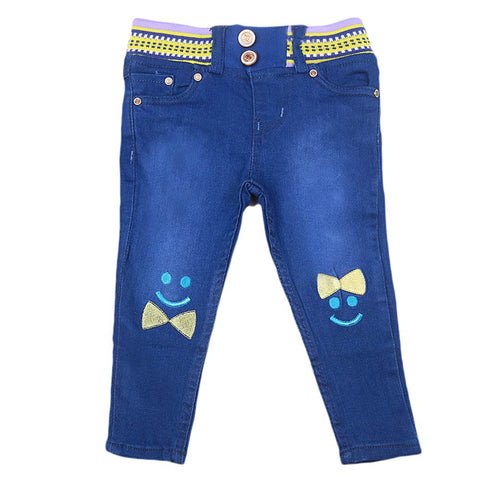 Girls Stretchable Denim Pant - Blue