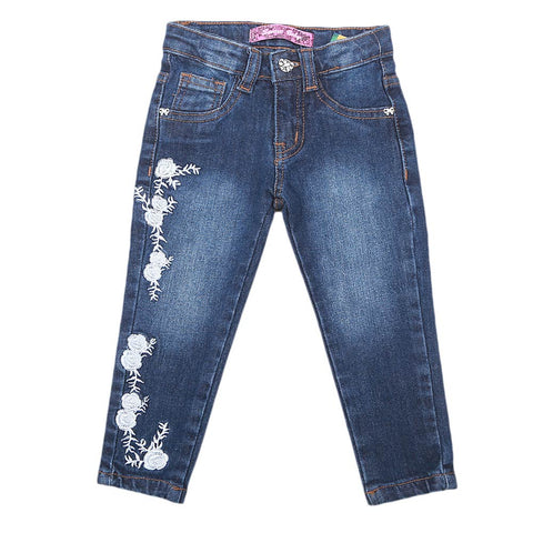 Girls Embroidered Denim Pant - Dark Blue