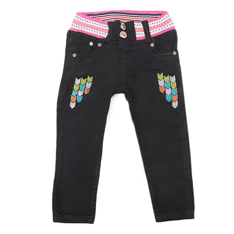 Girls Stretchable Denim Pant - Black