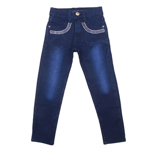 Girls Denim Embroidered Pant - Dark Blue