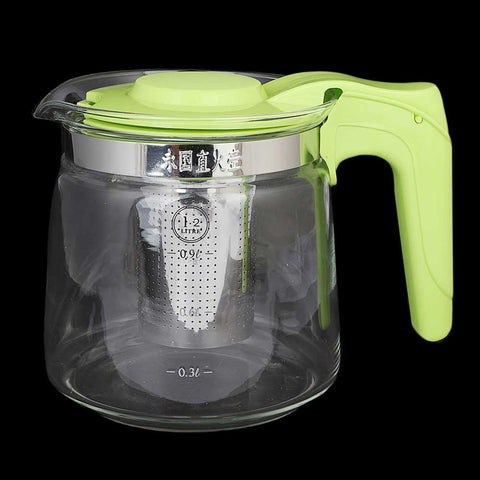 Glass Kettle with Strainer - Green
