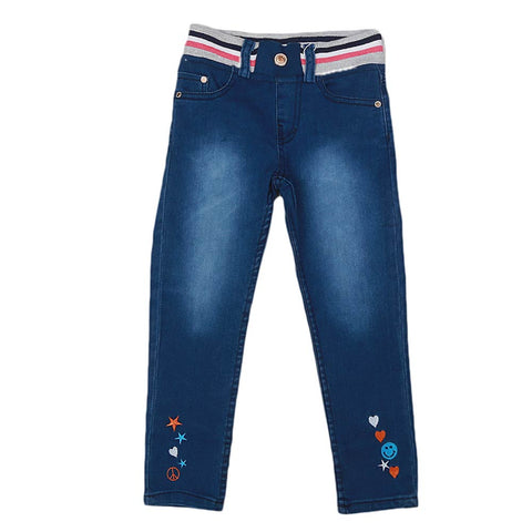 Girls Denim Embroidered Pant - Blue