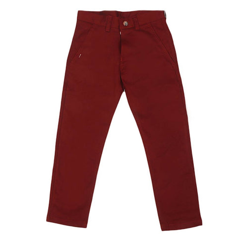 Boys Cotton Pant - Maroon