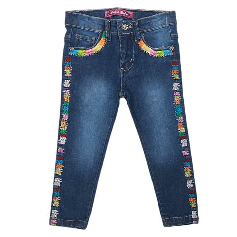 Girls Strip Denim Pant - Dark Blue