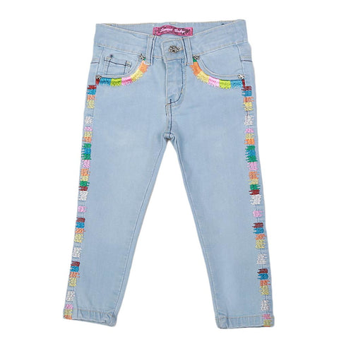 Girls Strip Denim Pant - Light Blue