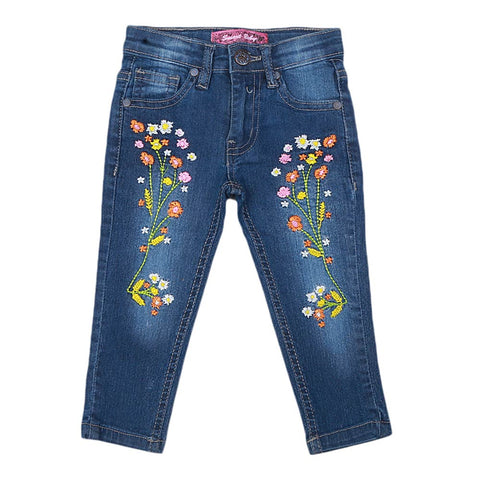 Girls Embroidered Denim Pant - Blue