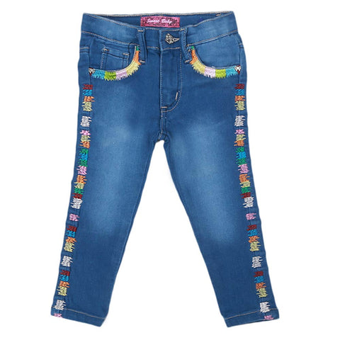Girls Strip Denim Pant - Blue
