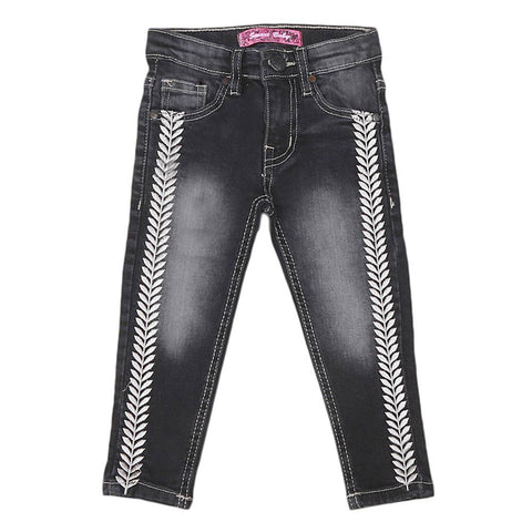 Girls Strip Denim Pant - Black
