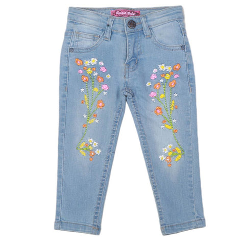 Girls Embroidered Denim Pant - Light Blue