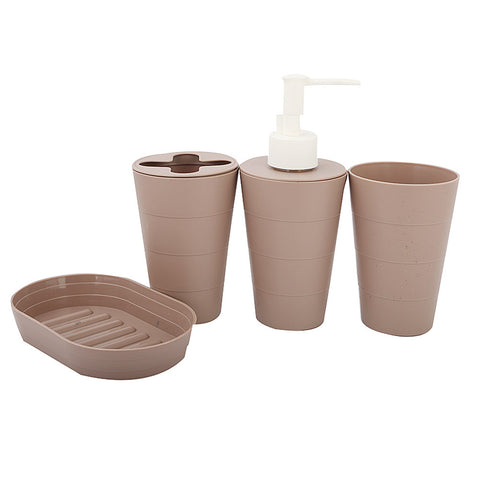 Bathroom Toiletries Set 4 Pcs - Brown