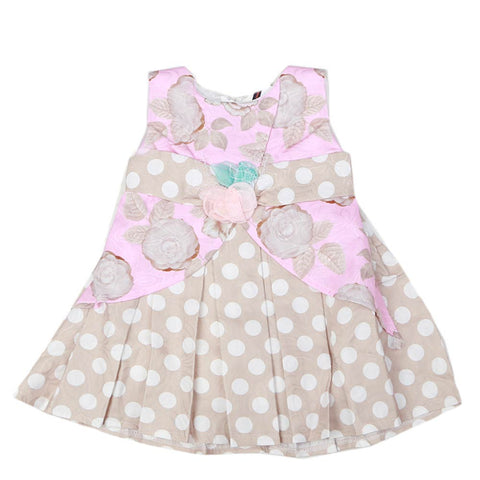 Newborn Girls Frock - Beige