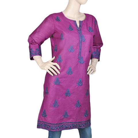 Women's Embroidered Kurti - Purple