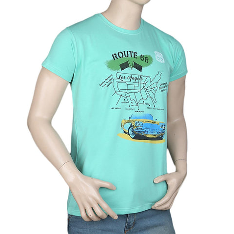Men's Slim Fit Printed T-Shirt - Cyan