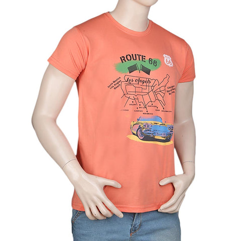Men's Slim Fit Printed T-Shirt -Peach