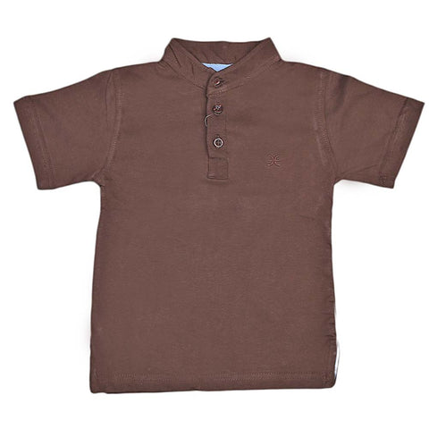 Boys Eminent Sherwani Collar T-Shirt - Coffee