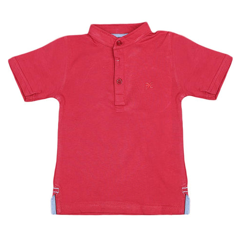 Boys Eminent Sherwani Collar T-Shirt - Red